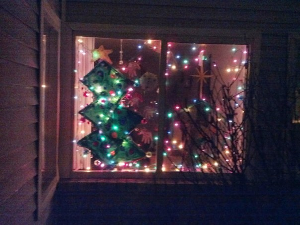 The finished window, as seen from outside our apartment at night.