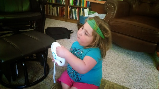 A headband while exercising on the Wii. Makes sense.