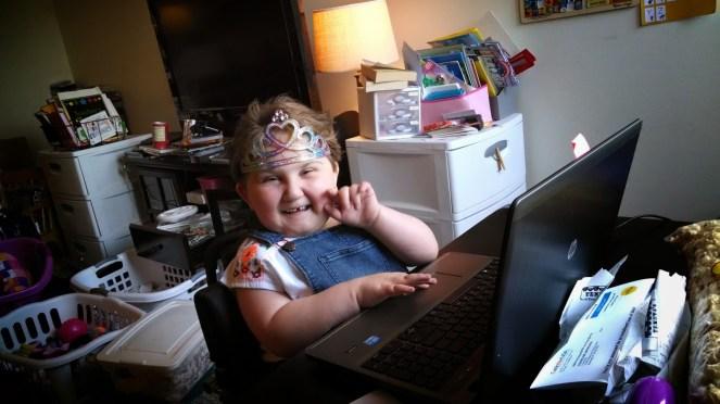 A tiara while watching videos, because tiara.