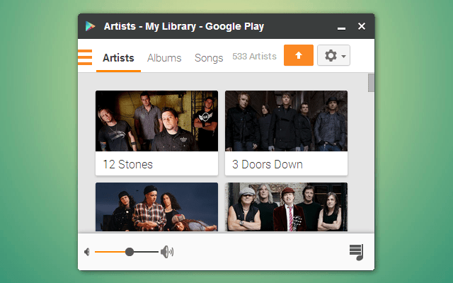 Artists/Albums/Songs screen