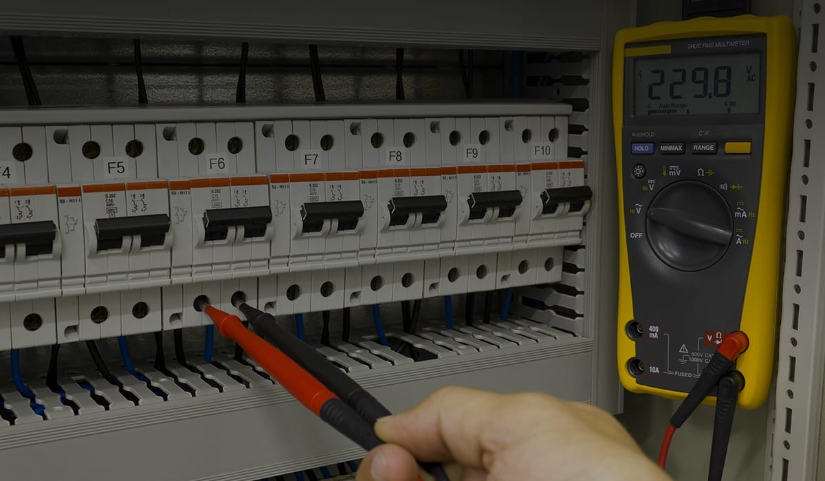 consumer unit fuse board and electricians multimeter