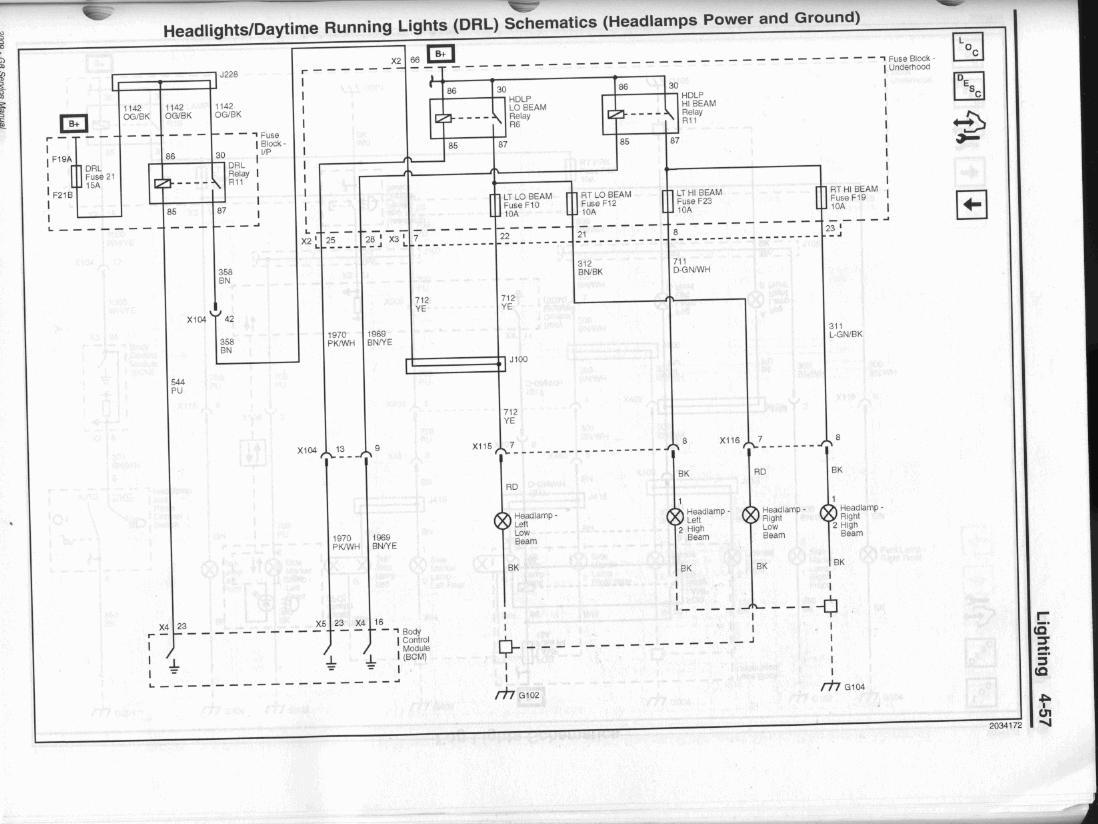 hight resolution of note junction j100 above where the voltage feed from the drl relay runs into the left side headlamp low voltage line it will then feed back through the
