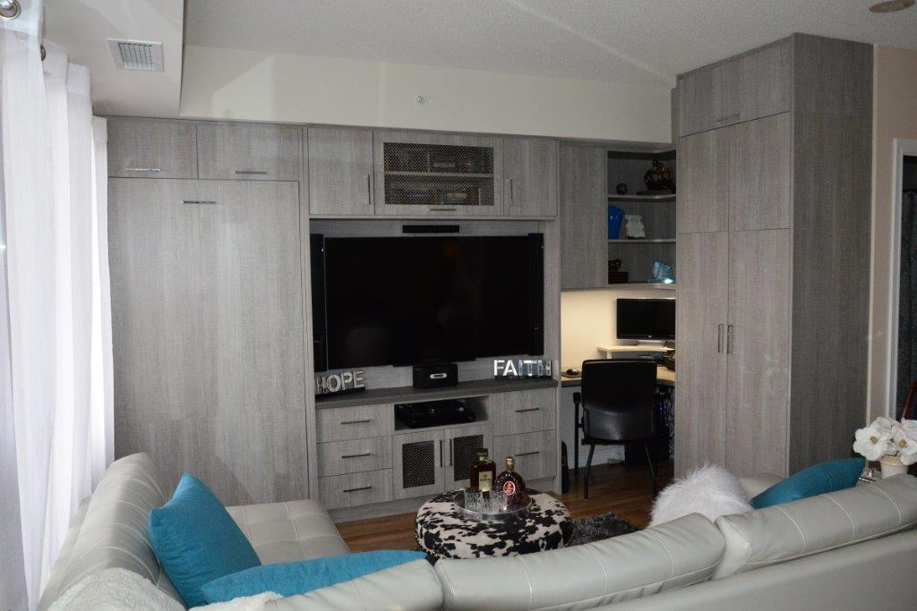 murphy bed in small living room inexpensive ideas general contractors can give you storage space with a