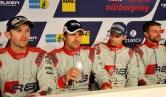 Gewannen für Phoenix Racing die 43. Auflage mit einem neuen Rekord von 159 Runden. Die Audi-Piloten Rene Rast, Markus Winkelhock, Christopher Haase und Christian Mamerow. (Bild: Reiner Züll)