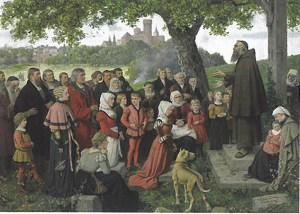 Eine Kapuzinerpredigt in Zülpich (Gemälde von Hubert Salentin in der Landesburg Zülpich).