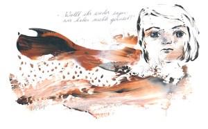 """""""Wollt ihr wieder sagen: Wir haben nichts gewusst?"""", so lautet der Titel dieses Werks der Ulmer Künstlerin Corry Glöckle-van den Bos, das nun in Euskirchen bei einer Ausstellung gezeigt wird. Bild: Corry Glöckle-van den Bos"""