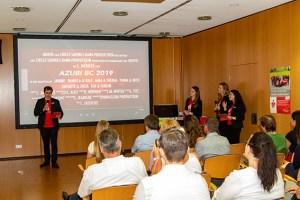 Der Leiter des Azubi-BCs Nico Berkenkopf (v.l.) berichtete zusammen mit Lea Wittek, Ivana Dumancic und Xhenete Alili über die vielfältigen Herausforderungen, aber auch den Teamgeist und viel Spaß bei ihrer Ausbildung. Bild: Tameer Gunnar Eden/Eifeler Presse Agentur/epa