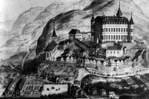 Bei dieser Ansicht von Reifferscheid aus dem Jahr 1793 ist dem Künstler ein wenig die Phantasie durchgegangen. Bild: Eifelverein Hellenthal