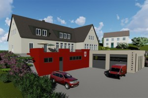 Die zukünftig neue Kombination von Dorfgemeinschaftshaus und Feuerwehrgerätehaus in Kronenburg. Bild: Architekturbüro Dimmer