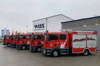 In der Nähe von Freiburg haben die Feuerwehrleute aus Zülpich ihre neuen Fahrzeuge abgeholt. Foto: Freiwillige Feuerwehr Zülpich