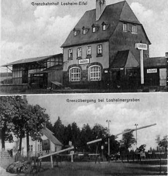Postkartenmotive von anno dazumal: Die Grenze und der Bahnhof in Losheim. Quelle: Kreisarchiv Euskirchen