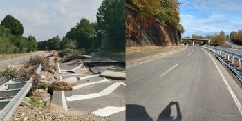 Vor und nach der Sanierung: Teile der B265 bei Erftstadt mussten in den vergangenen zwei Monaten neu hergestellt werden. Fotos: Straßen NRW