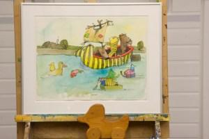 Dieses Bild hat Janosch eigens für die Ausstellung gemalt: Es zeigt Bär und Tiger bei einem Abenteuer auf dem Rursee. Bild: Tameer Gunnar Eden/Eifeler Presse Agentur/epa