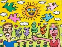 """""""That funny sunny feeling"""": Dieses letzte Werk hat der verstorbene Pop Art-Stars James Rizzi eigens für die Ausstellung im Kreis Düren gemalt. Das Bild wird in einer Sonderedition von 350 Stück von der Kunstakademie Heimbach verkauft."""
