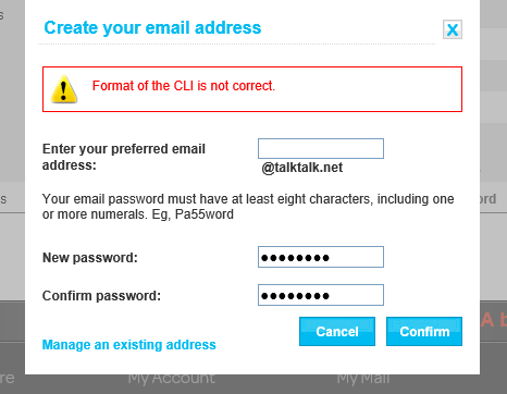 Solved Cannot create a talktalknet email address