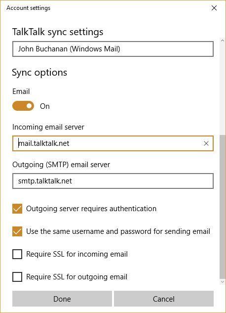 Re Talktalk account settings are out of date  TalkTalk