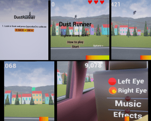 Some screenshots from dust runner VR game that uses parallax as main game mechanics