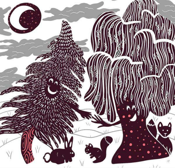 Illustration of Pine and Willow by Leslie Osmont