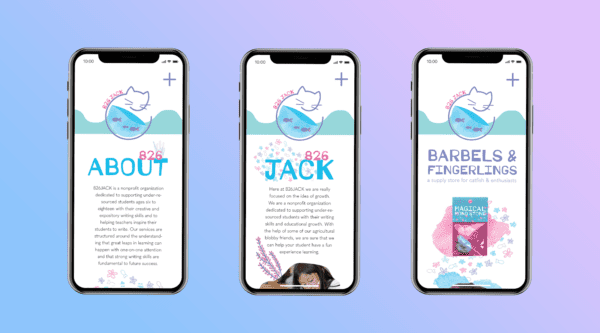 Three phone mockups, showing Jessica Rothwell's Barbells and Fingerlings website.