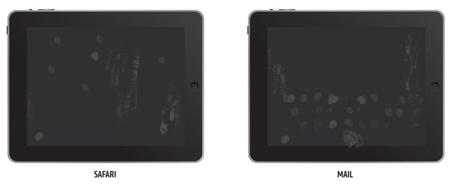 Examples of finger prints left on iPad after use