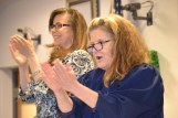 When judges enter the courtroom, all rise as a sign of respect. Judge Jennifer Elliot and the courtroom all rise when participants graduate from the mothers'/fathers' specialty court. Judge Elliot and hearing master Margaret Pickard cheer grads.