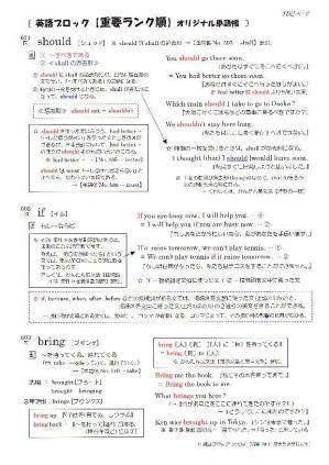 英語ブロック オリジナル英単語帳 No.601~700