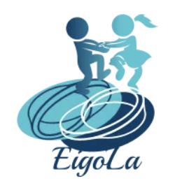新サービス - EigoLaロゴマーク-イラスト-男性と女性が手を繋ぎながら踊っている-函館英会話教室EigoLa