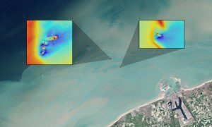 In this natural-color Landsat image, long sediment plumes extend from the wreck sites of the SS Sansip and SS Samvurn. Insets show elevation models (created by a multibeam echosounder) of the wrecks on the seafloor. (Credit: NASA/USGS Landsat/Jesse Allen/NASA Earth Observatory/Matthias Baeye et al)