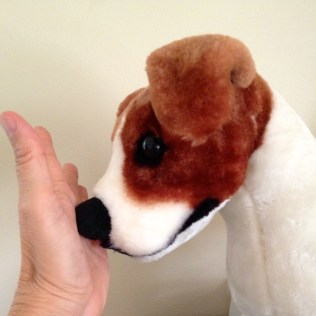 The nose of a stuffed dog is touching the palm of a woman's left hand. The dog is brown and white and resembles a Jack Russell. Its nose is black.