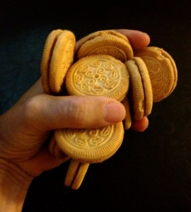 a handful of vanilla sandwich cookies