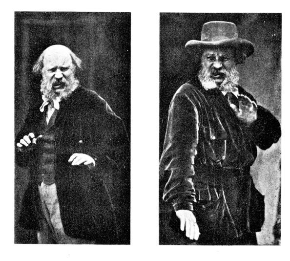 two images of a bearded man in 19th or early 20th century clothing looking disgusted
