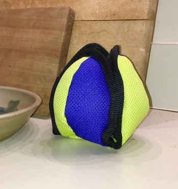 Lotus Ball treat dispensing toy with Velcro closures