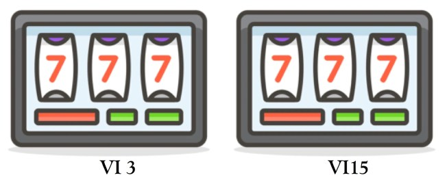 Two identical slot machine graphics, but one pays on on variable interval 3 and the other on variable interval 15
