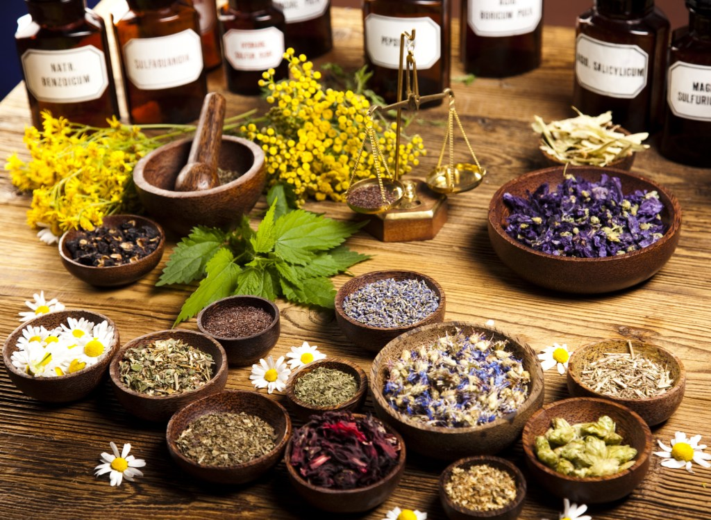herbal medicines in bowls and bottles