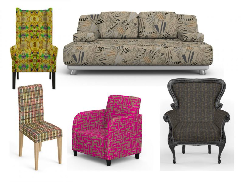 A variety of designer prints on different styles of upholstered funiture