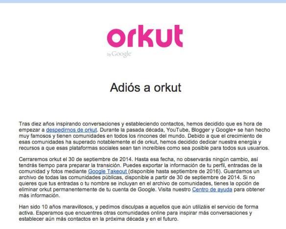comunicado del cierre de orkut