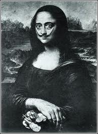 Salvador Dali self-portrait painting as the Mona Lisa