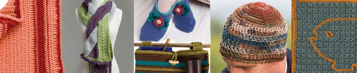 Discover all six patterns including hat, scarf, mat, blanket and walker bag pattern.
