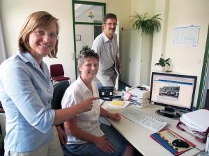 Bürgermeisterin Dr. Sabine Michalek, Elke Brokop und Albert Deike.