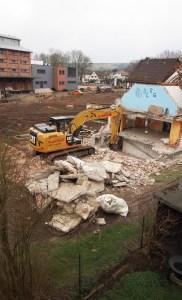 Die Nebengebäude des Hauses der Jugend werden derzeit abgerissen. Aufnahme vom 19.02.2014.