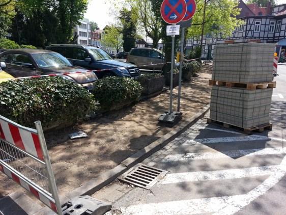 Bauarbeiten auf dem Möncheoplatz. Aufnahme vom 05.05.2015