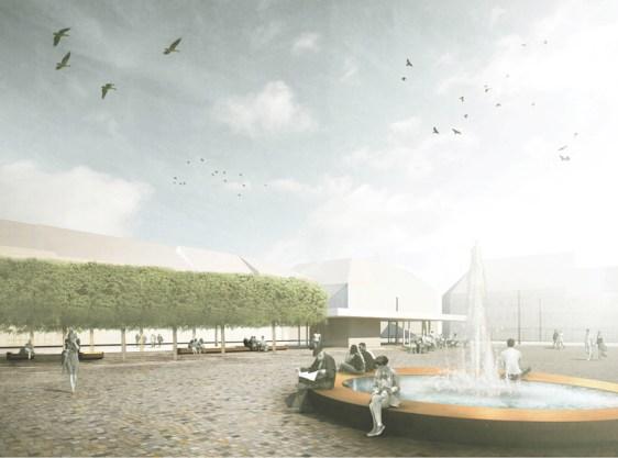 Der geplante Brunnen auf dem Neustädter Kirchplatz ist Kritikpunkt der Politik. (c) Planorama, Berlin