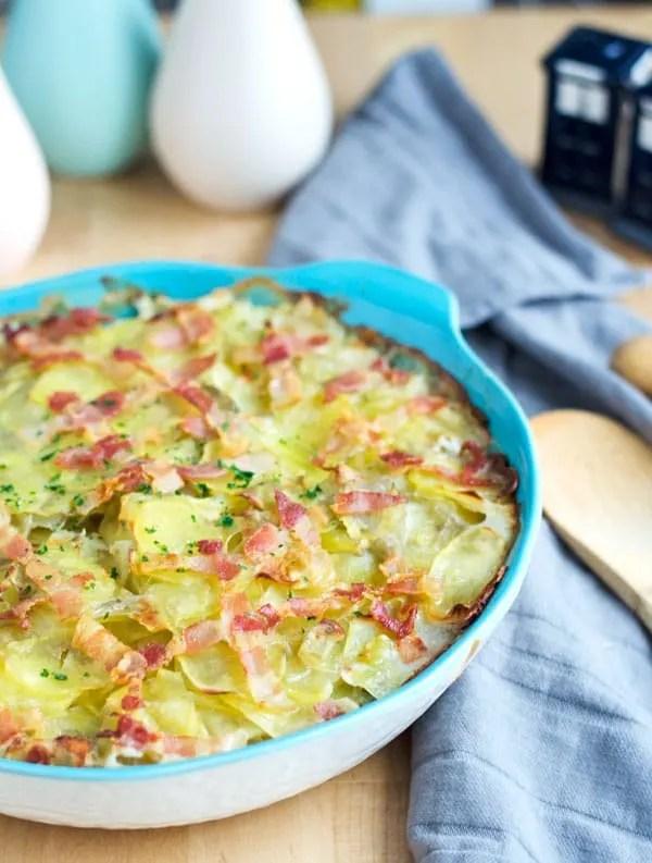 Auflauf von gestovten Bohnen mit Kartoffeln und Speck. Souldfood. Norddeutsch. Rezept auf www.einepriselecker.de