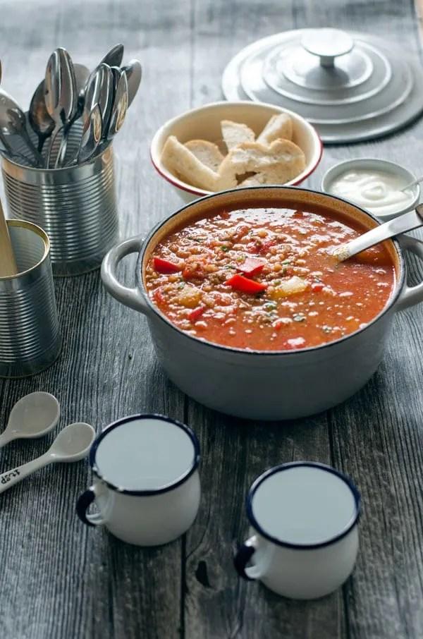 Aromatische, kalorienarme Gefüllte Paprika-Suppe