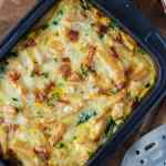 Ofenfrittata mit Pommes. Perfekte Restevertung.//oven frittata with leftover fries. Perfect utilization. Recipe also in english!