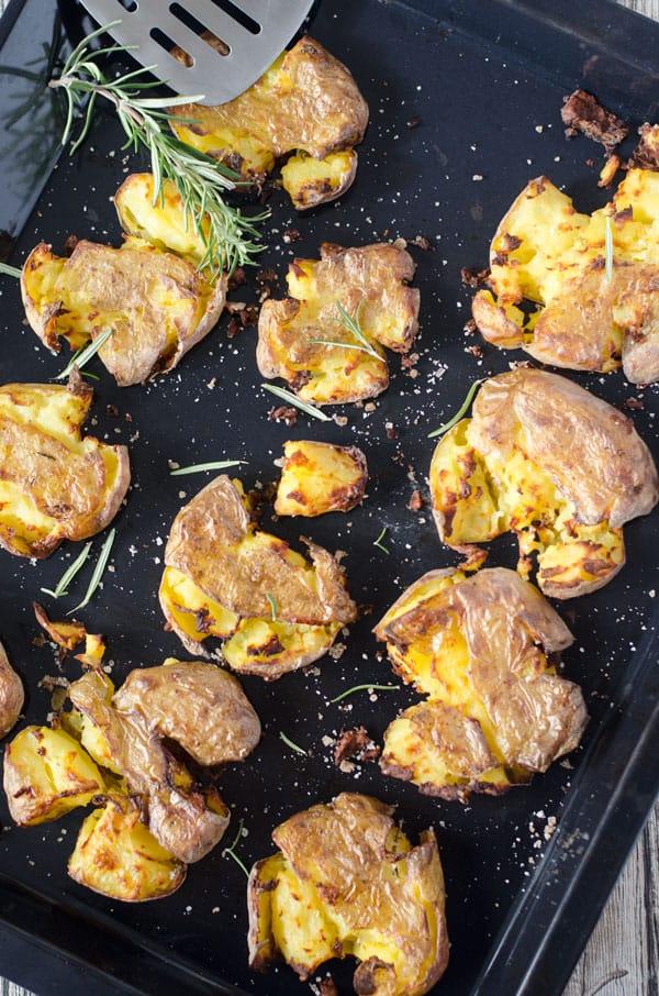 Smashed Potatoes - zertrümmerte Kartoffeln aus dem Ofen