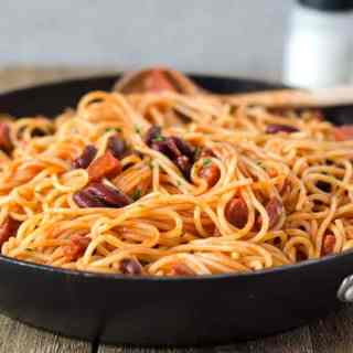 15 Minuten Spagetti mit Chorizo und Kidneybohnen