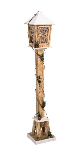 Verbreitet im Eingangsbereich weihnachtlich gemütliche Stimmung. Nur für den Innenbereich geeignet, Mit 13 warmweißen LEDs, Batterien: 2 x 1,5V Mignon AA (nicht im Lieferumfang enthalten), Maße: ca. B19 x T19 x H104 cm, Gewicht: ca. 1,3 kg, Material: Holz.<br>