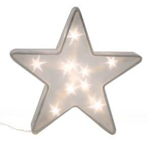 Ein schöner Hingucker ist dieser Stern mit 3D-Effekt. Mit 10 bzw. 20 warmweißen LEDs im Inneren, mit 3D-Effekt, Batterien: Betrieb mit 2 bzw. 3 Mignonbatterien (nicht inklusive), Maße: Klein: ca. 4 cm tief, 16 cm Ø. Groß: ca. 10 cm tief, 36 cm Ø, Material: Kunststoff, Metall.<br>