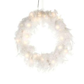 Beleuchteter Deko-Kranz mit echten, weißen Federn bestückt. Mit 24 LEDs, mit Eurostecker Netzadapter, Nur für den Innenbereich geeignet, Kabellänge ca. 300 cm, Maße: ca. Ø 45 cm, Material: Federn, Kunststoff, LEDs.<br>
